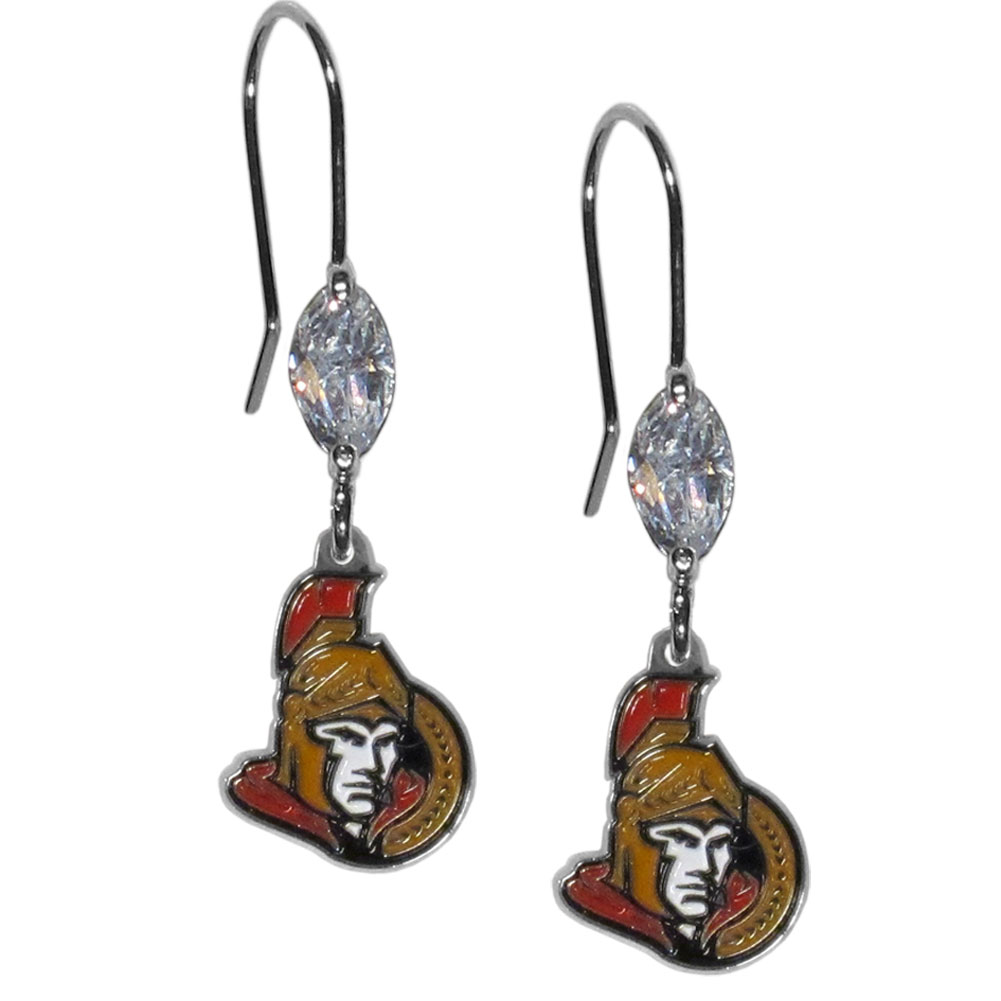 Ottawa Senators® Crystal Dangle Earrings - Our crystal dangle earrings are the perfect accessory for your game day outfit! The earrings are approximately 1.5 inches long and feature an iridescent crystal bead and nickel free chrome Ottawa Senators® charm on nickel free, hypoallergenic fishhook posts.