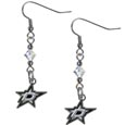 Dallas Stars Crystal Dangle Earrings - NHL Dallas Stars Crystal Dangle Earrings earrings are the perfect accessory for your Dallas Stars game day outfit! The Dallas Stars Crystal Dangle Earrings are approximately 1.5 inches long and feature an iridescent crystal bead and nickel free chrome Dallas Stars charm on nickel free, hypoallergenic fishhook posts.