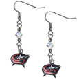 Columbus Blue Jackets Crystal Dangle Earrings - NHL Columbus Blue Jackets Crystal Dangle Earrings are the perfect accessory for your Columbus Blue Jackets game day outfit! The Columbus Blue Jackets Crystal Dangle Earrings are approximately 1.5 inches long and feature an iridescent crystal bead and nickel free chrome Columbus Blue Jackets charm on nickel free, hypoallergenic fishhook posts.
