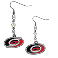 Carolina Hurricanes Crystal Dangle Earrings - These NHL Carolina Hurricanes Crystal Dangle Earrings are the perfect accessory for your Carolina Hurricanes game day outfit! The Carolina Hurricanes Crystal Dangle Earrings are approximately 1.5 inches long and feature an iridescent crystal bead and nickel free chrome Carolina Hurricanes charm on nickel free, hypoallergenic fishhook posts.