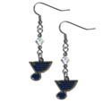 St. Louis Blues Crystal Dangle Earrings - NHL St. Louis Blues Crystal Dangle Earrings are the perfect accessory for your game day outfit! The St. Louis Blues Crystal Dangle Earrings are approximately 1.5 inches long and feature an iridescent crystal bead and nickel free chrome St. Louis Blues charm on nickel free, hypoallergenic fishhook posts.