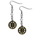 Boston Bruins Crystal Dangle Earrings - These NHL Boston Bruins Crystal Dangle Earrings are the perfect accessory for your Boston Bruins game day outfit! The Boston Bruins Crystal Dangle Earrings are approximately 1.5 inches long and feature an iridescent crystal bead and nickel free chrome Boston Bruins charm on nickel free, hypoallergenic fishhook posts. Thank you for visiting CrazedOutSports