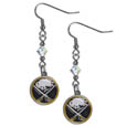 Buffalo Sabres Crystal Dangle Earrings - Our NHL Buffalo Sabres Crystal Dangle Earrings are the perfect accessory for your game day outfit! The Buffalo Sabres Crystal Dangle Earrings are approximately 1.5 inches long and feature an iridescent crystal bead and nickel free chrome Buffalo Sabres charm on nickel free, hypoallergenic fishhook posts.