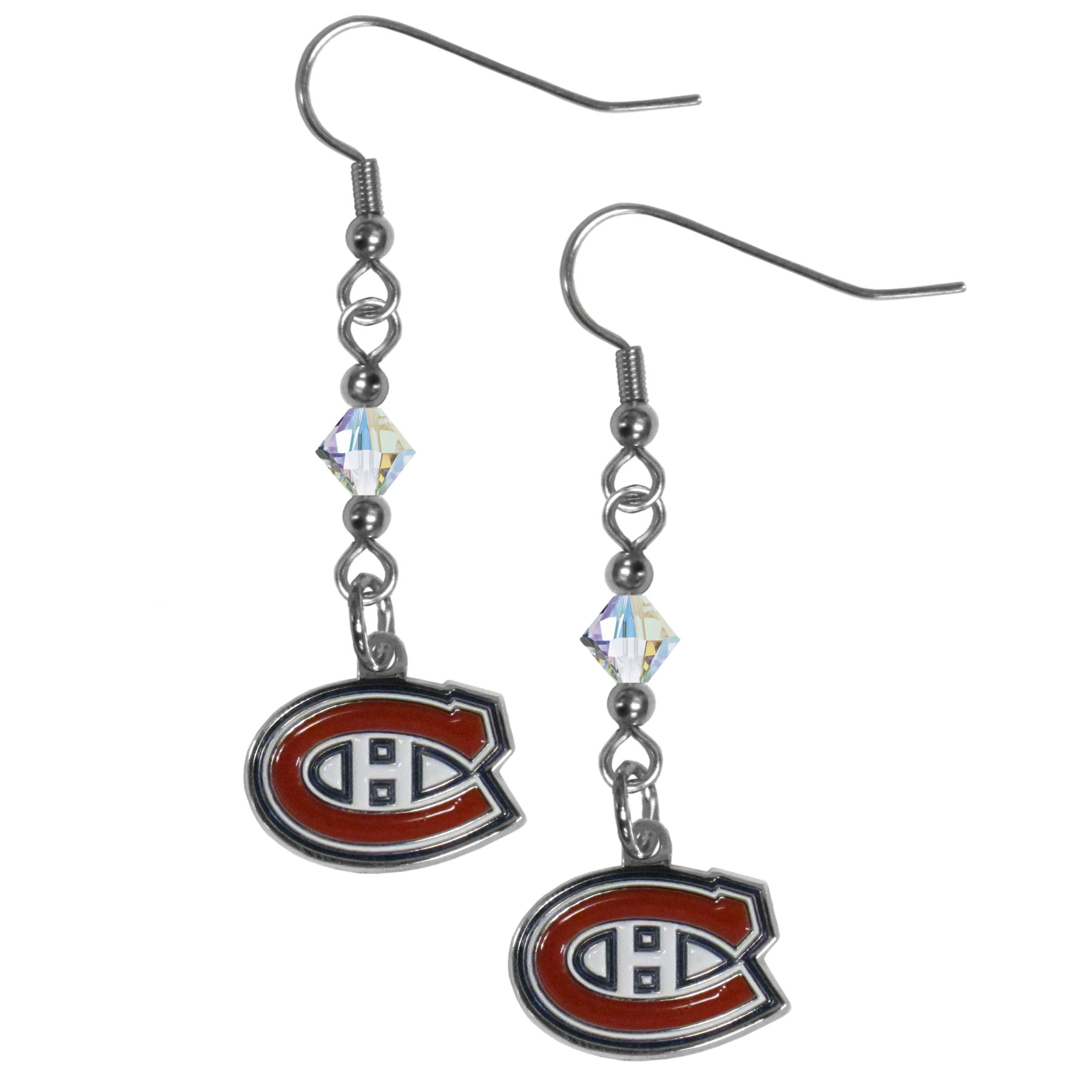 Montreal Canadiens® Crystal Dangle Earrings - Our crystal dangle earrings are the perfect accessory for your game day outfit! The earrings are approximately 1.5 inches long and feature an iridescent crystal bead and nickel free chrome Montreal Canadiens® charm on nickel free, hypoallergenic fishhook posts.