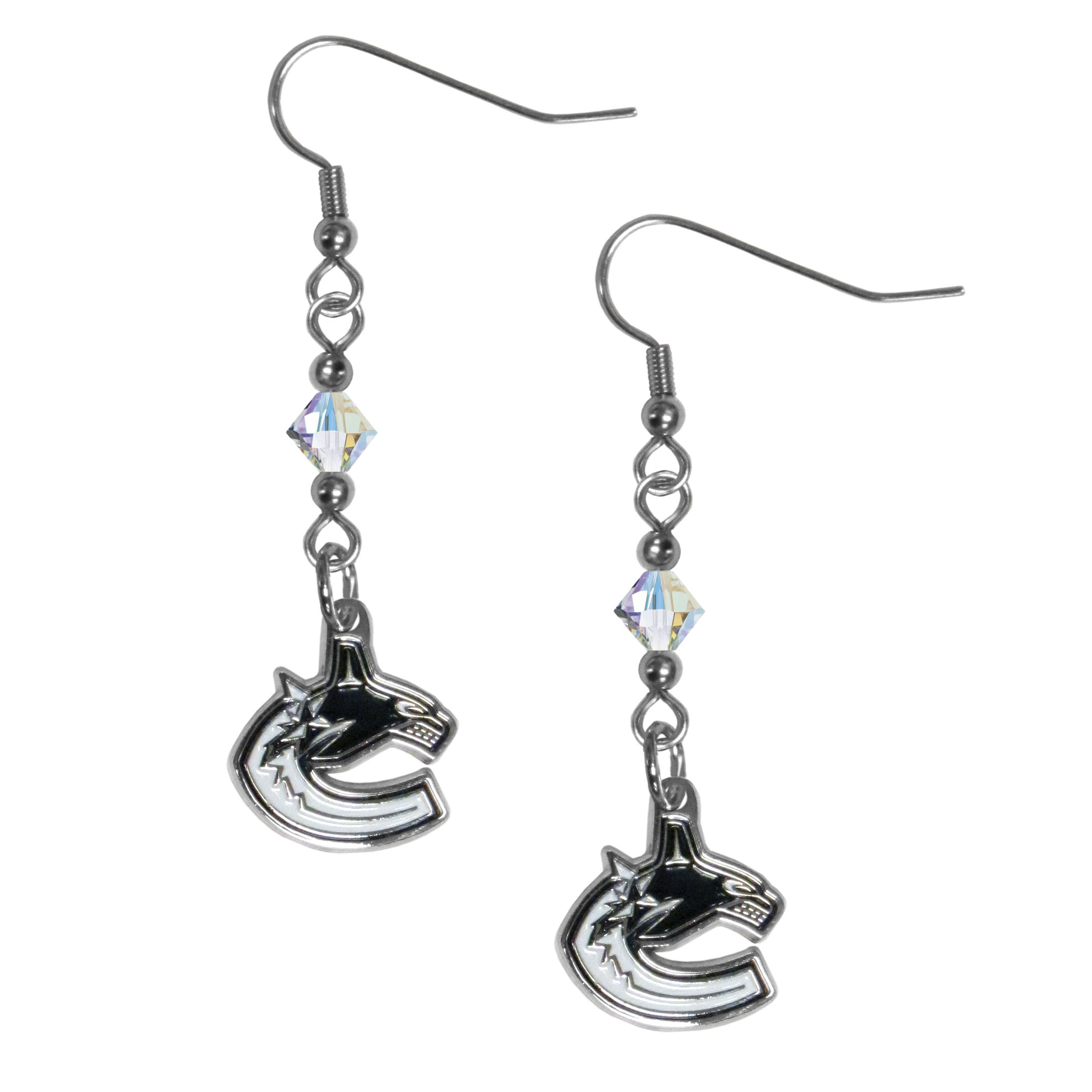 Vancouver Canucks® Crystal Dangle Earrings - Our crystal dangle earrings are the perfect accessory for your game day outfit! The earrings are approximately 1.5 inches long and feature an iridescent crystal bead and nickel free chrome Vancouver Canucks® charm on nickel free, hypoallergenic fishhook posts.