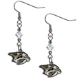 Nashville Predators Crystal Dangle Earrings - These NHL Nashville Predators Crystal Dangle Earrings are the perfect accessory for your game day outfit! The Nashville Predators Crystal Dangle Earrings are approximately 1.5 inches long and feature an iridescent crystal bead and nickel free chrome Nashville Predators charm on nickel free, hypoallergenic fishhook posts.