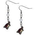 Arizona Coyotes Crystal Dangle Earrings - These NHL Arizona Coyotes Crystal Dangle Earrings are the perfect accessory for your Arizona Coyotes game day outfit! The Arizona Coyotes Crystal Dangle Earrings are approximately 1.5 inches long and feature an iridescent crystal bead and nickel free chrome Arizona Coyotes charm on nickel free, hypoallergenic fishhook posts. Thank you for visiting Crazed Out Sports