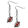 New Jersey Devils Crystal Dangle Earrings - These NHL New Jersey Devils Crystal Dangle Earrings are the perfect accessory for your New Jersey Devils game day outfit! The New Jersey Devils Crystal Dangle Earrings are approximately 1.5 inches long and feature an iridescent crystal bead and nickel free chrome New Jersey Devils charm on nickel free, hypoallergenic fishhook posts.