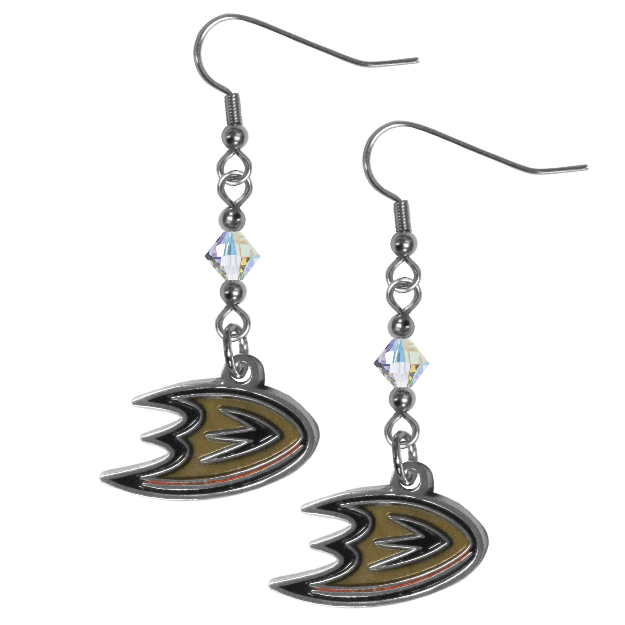 Anaheim Ducks® Crystal Dangle Earrings - Our crystal dangle earrings are the perfect accessory for your game day outfit! The earrings are approximately 1.5 inches long and feature an iridescent crystal bead and nickel free chrome Anaheim Ducks® charm on nickel free, hypoallergenic fishhook posts.