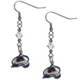 Colorado Avalanche Crystal Dangle Earrings - These NHL  Colorado Avalanche crystal dangle earrings are the perfect accessory for your Colorado Avalanche game day outfit! The Colorado Avalanche Crystal Dangle Earrings are approximately 1.5 inches long and feature an iridescent crystal bead and nickel free chrome Colorado Avalanche charm on nickel free, hypoallergenic fishhook posts.
