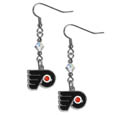 Philadelphia Flyers Crystal Dangle Earrings - These NHL Philadelphia Flyers Crystal Dangle Earrings are the perfect accessory for your Philadelphia Flyers game day outfit! The Philadelphia Flyers Crystal Dangle Earrings are approximately 1.5 inches long and feature an iridescent crystal bead and nickel free chrome Philadelphia Flyers charm on nickel free, hypoallergenic fishhook posts.