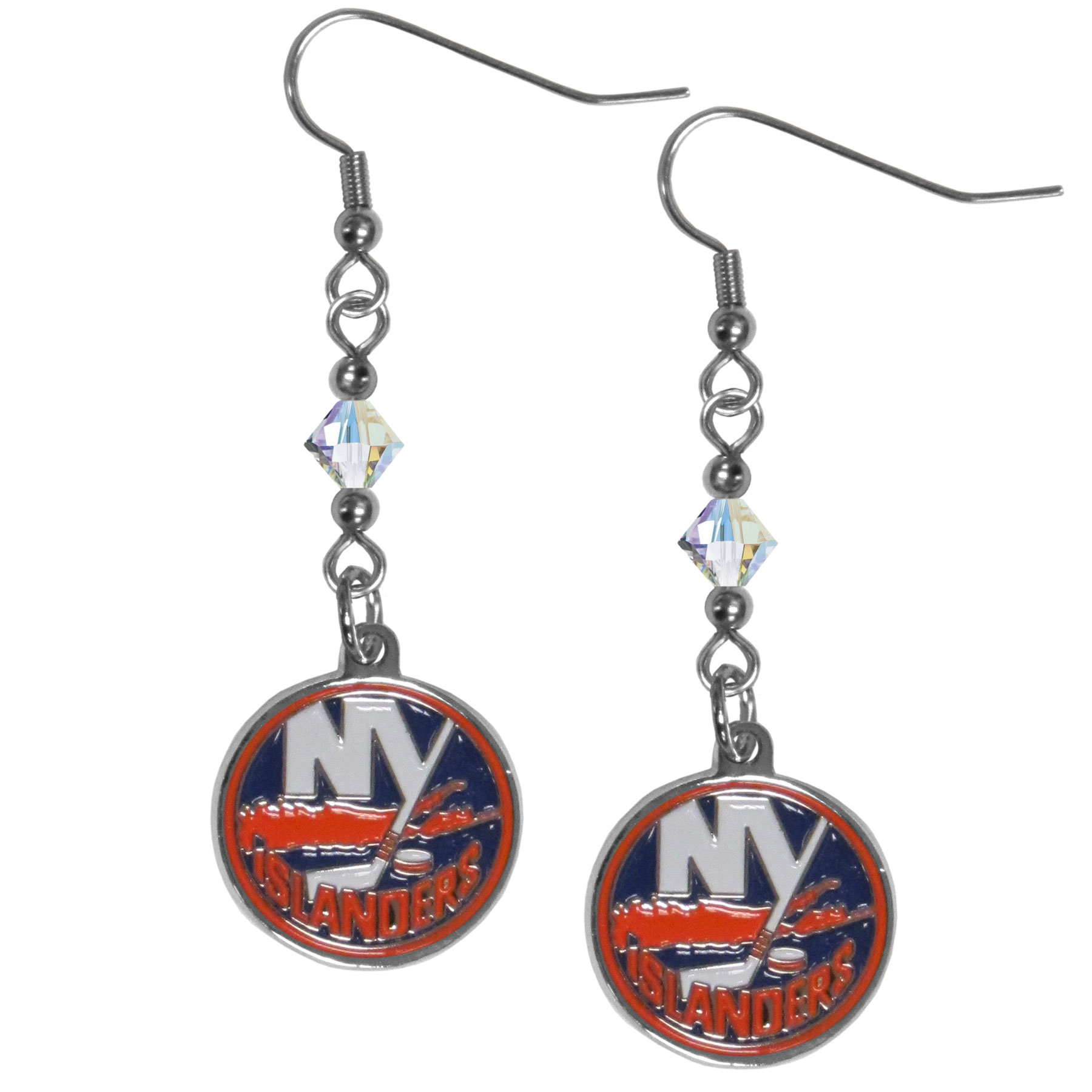 New York Islanders® Crystal Dangle Earrings - Our crystal dangle earrings are the perfect accessory for your game day outfit! The earrings are approximately 1.5 inches long and feature an iridescent crystal bead and nickel free chrome New York Islanders® charm on nickel free, hypoallergenic fishhook posts.