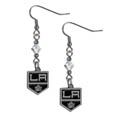 Los Angeles Kings Crystal Dangle Earrings - These NHL Los Angeles Kings Crystal Dangle Earrings are the perfect accessory for your Los Angeles Kings Los Angeles Kings game day outfit! The Los Angeles Kings Crystal Dangle Earrings are approximately 1.5 inches long and feature an iridescent crystal bead and nickel free chrome Los Angeles Kings charm on nickel free, hypoallergenic fishhook posts.