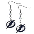 Tampa Bay Lightning Crystal Dangle Earrings - NHL Tampa Bay Lightning Crystal Dangle Earrings are the perfect accessory for your Tampa Bay Lightning game day outfit! The Tampa Bay Lightning Crystal Dangle Earrings are approximately 1.5 inches long and feature an iridescent crystal bead and nickel free chrome Tampa Bay Lightning charm on nickel free, hypoallergenic fishhook posts.