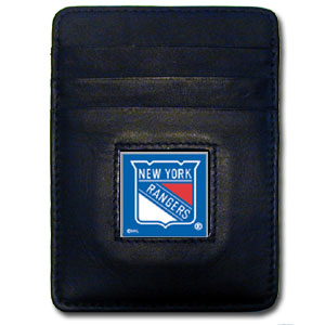 New York Rangers NHL Money Clip/Card holder   - Officially licensed New York Rangers Executive NHL Money Clip/Card Holders won't make you choose between paper or plastic because they stow both easily. Features our sculpted and enameled  New York Rangers square on black leather Money Clip/Card Holder. Thank you for visiting CrazedOutSports