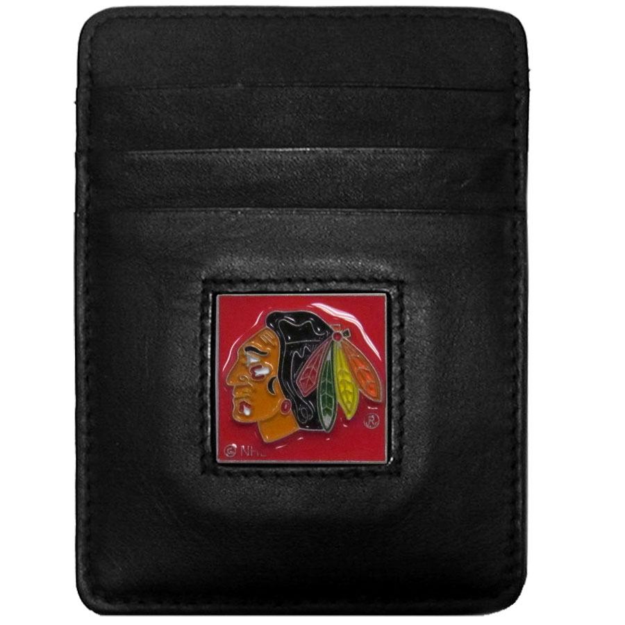Chicago Blackhawks Leather Money Clip/Cardholder - Officially licensed NHL Chicago Blackhawks Money Clip/Card Holders won't make you choose between paper or plastic because they stow both easily. Features our sculpted and enameled Chicago Blackhawks emblem on the front of the wallet.
