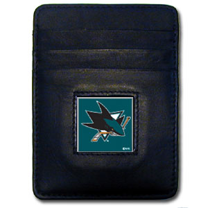 San Jose Sharks Executive NHL Money Clip/Card Holder - Officially licensed San Jose Sharks Executive NHL Money Clip/Card Holders won't make you choose between paper or plastic because they stow both easily. Features our sculpted and enameled San Jose Sharks square on black leather Money Clip/Card Holder.