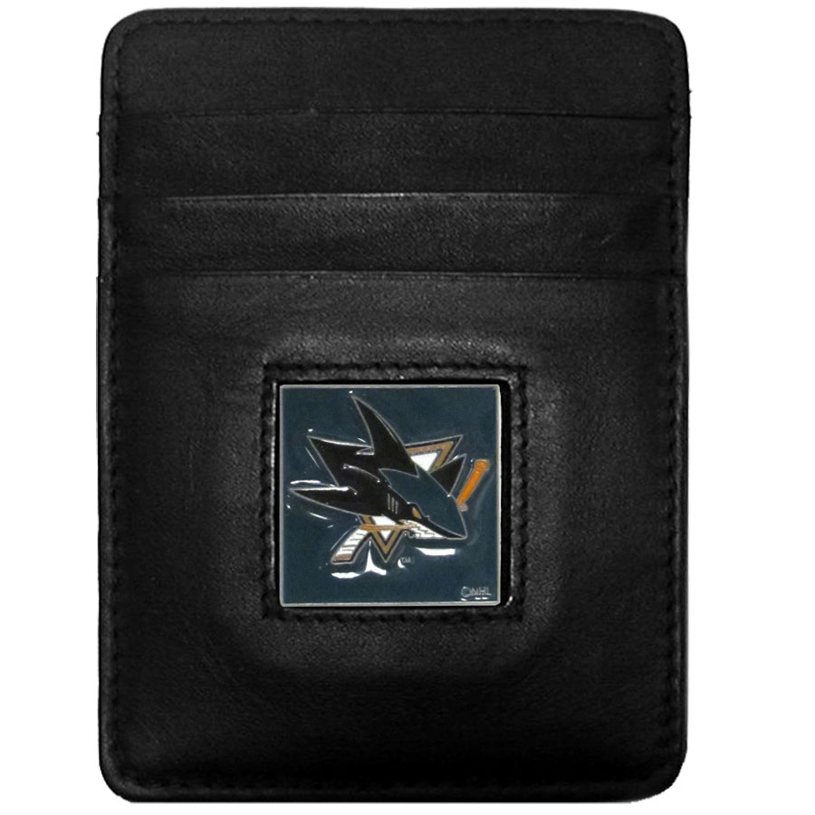 NHL Money Clip/Cardholder - San Jose Sharks - San Jose Sharks Executive NHL Money Clip/Card Holders won't make you choose between paper or plastic because they stow both easily. Features our sculpted and enameled San Jose Sharks square on black leather. Packaged in a window box.