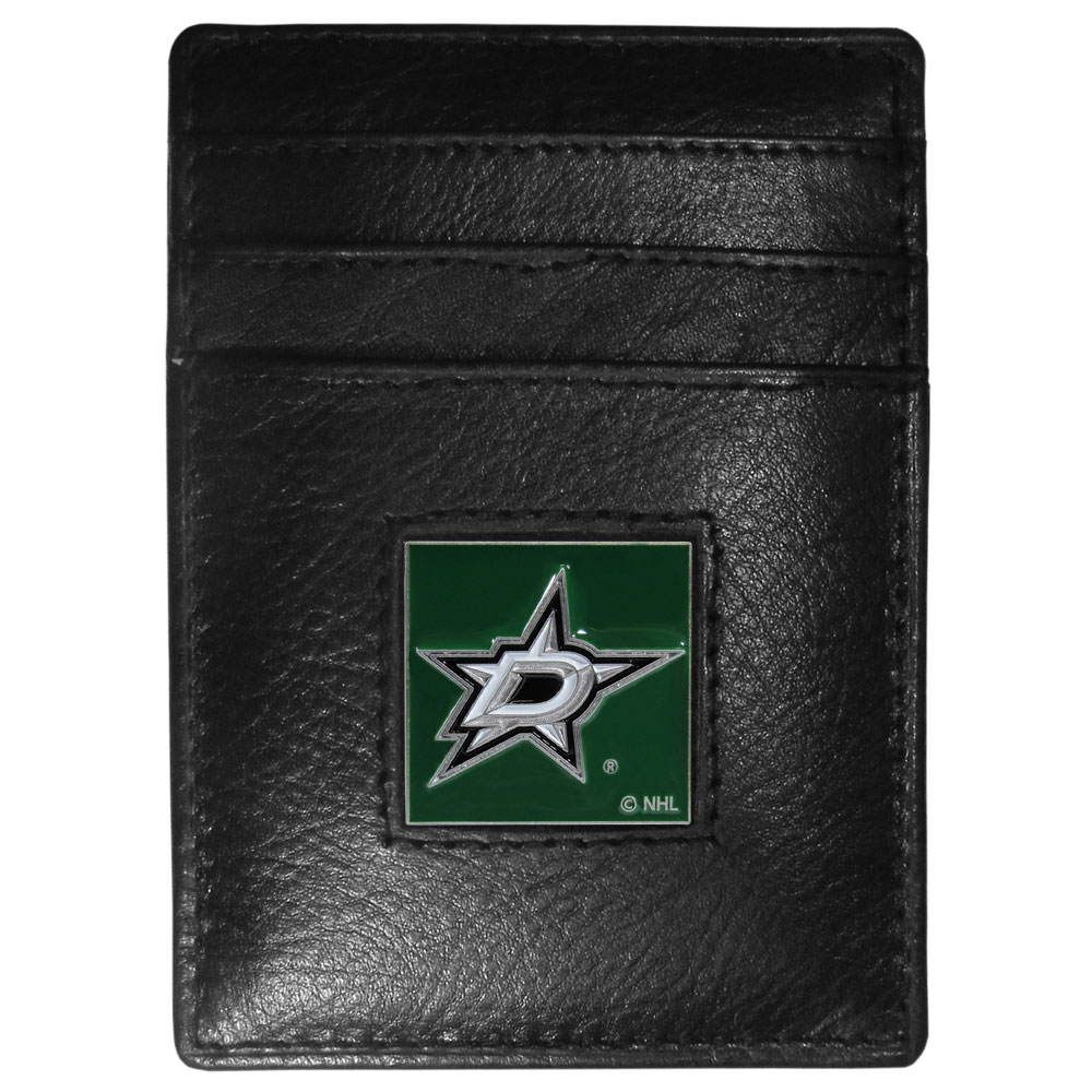 Dallas Stars™ Leather Money Clip/Cardholder - Our officially licensed Money Clip/Card Holders won't make you choose between paper or plastic because they stow both easily. Features our sculpted and enameled Dallas Stars™ emblem on the front of the wallet.