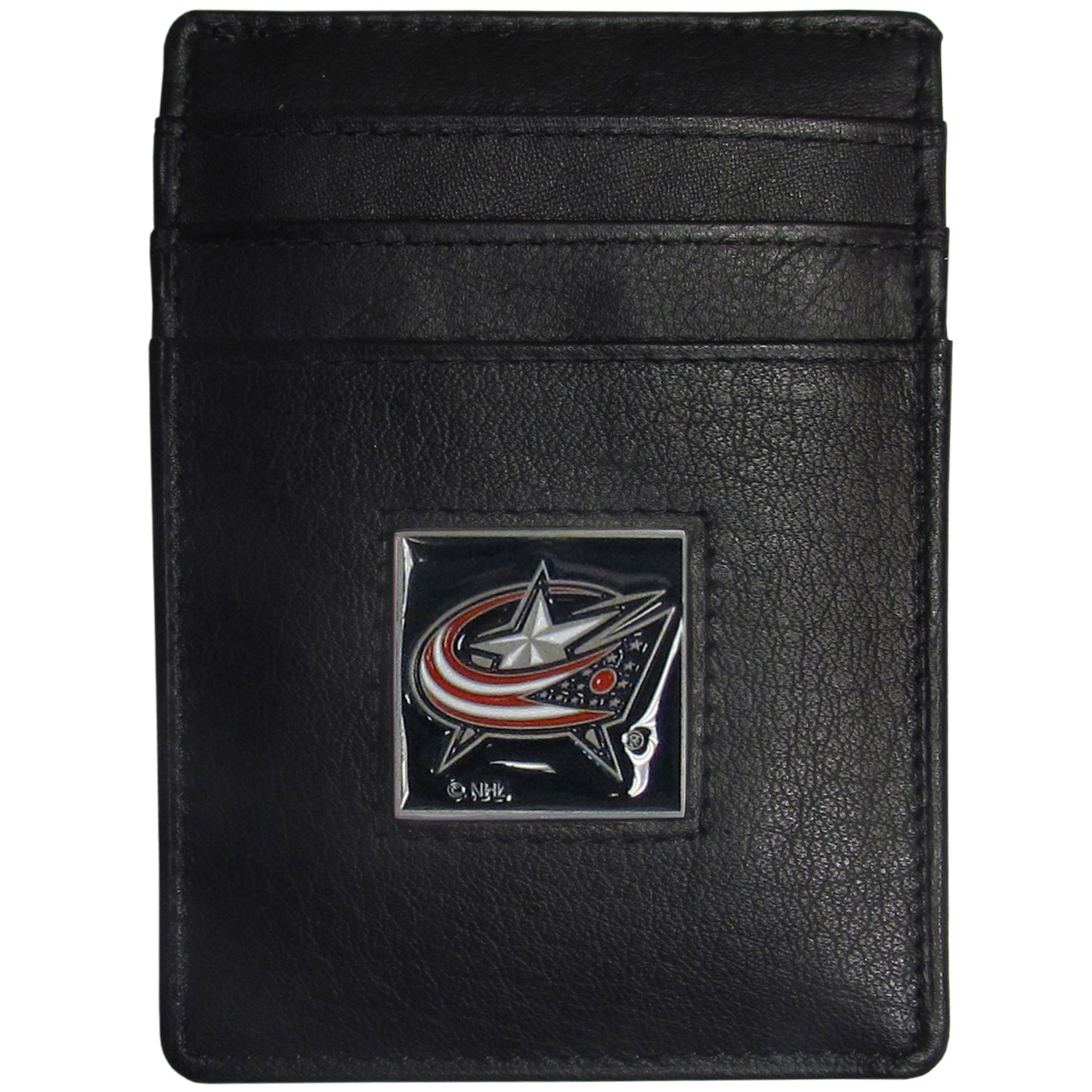 Columbus Blue Jackets® Leather Money Clip/Cardholder - Our officially licensed Money Clip/Card Holders won't make you choose between paper or plastic because they stow both easily. Features our sculpted and enameled Columbus Blue Jackets® emblem on the front of the wallet.