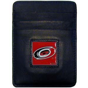 Carolina Hurricanes Executive NHL Money Clip/Card Holder - Officially licensed Carolina Hurricanes Executive NHL Money Clip/Card Holders won't make you choose between paper or plastic because they stow both easily. Features our sculpted and enameled Carolina Hurricanes square on black leather Money Clip/Card Holder.
