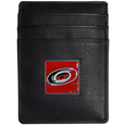 Carolina Hurricanes Leather Money Clip/Card holder - This Officially licensed Carolina Hurricanes Leather Money Clip/Card holder won't make you choose between paper or plastic because they stow both easily. Features a sculpted and enameled Carolina Hurricanes emblem on the front of the Leather Money Clip/Card holder. The Carolina Hurricanes Leather Money Clip/Card holder is packaged in a gift box.