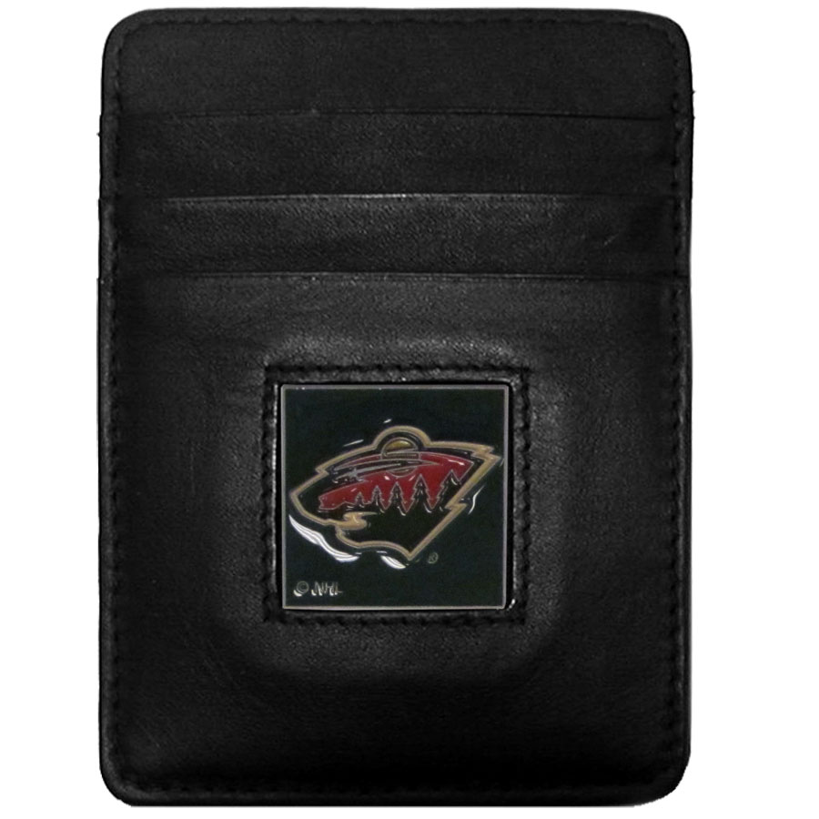 Minnesota Wild Leather Money Clip/Cardholder - Officially licensed NHL Minnesota Wild Money Clip/Card Holders won't make you choose between paper or plastic because they stow both easily. Features our sculpted and enameled Minnesota Wild emblem on the front of the wallet.