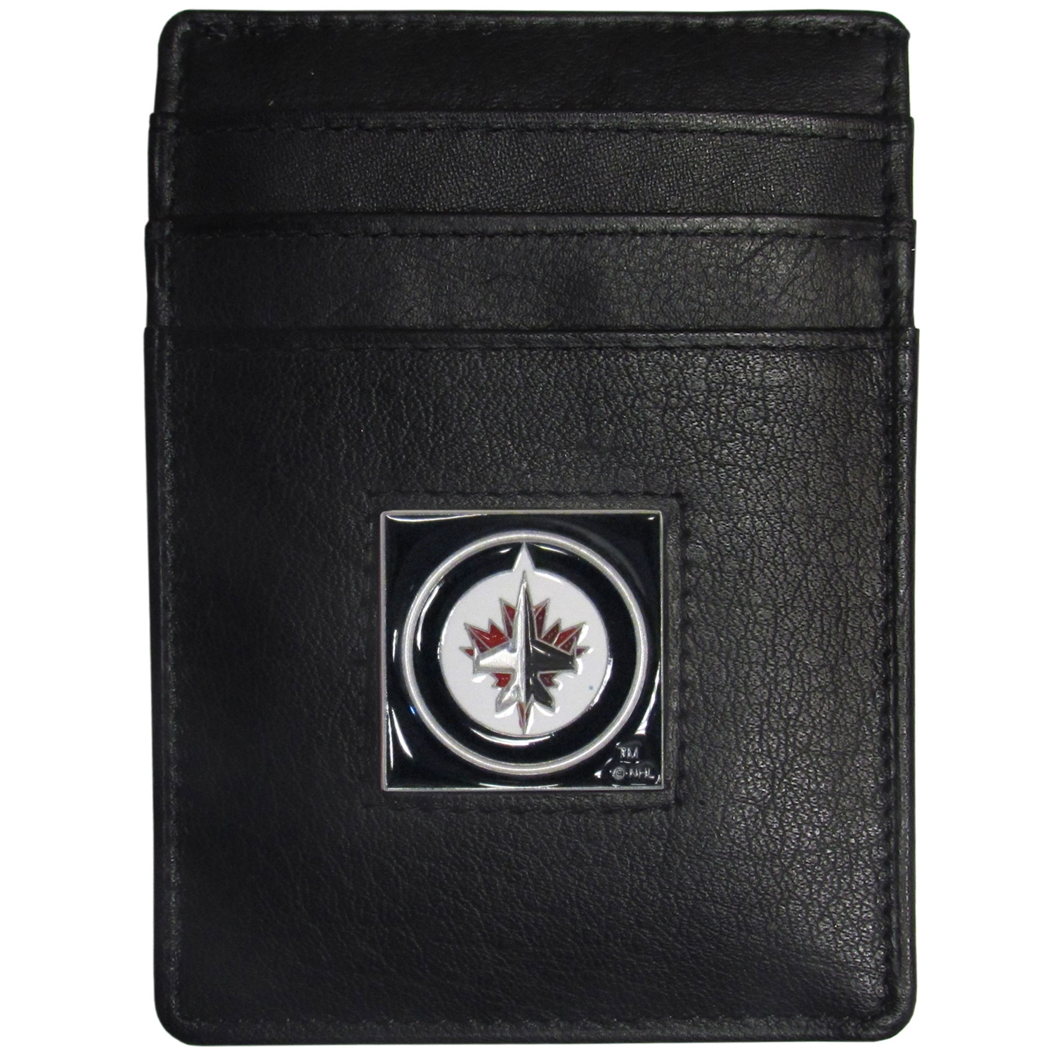 Winnipeg Jets™ Leather Money Clip/Cardholder - Our officially licensed Money Clip/Card Holders won't make you choose between paper or plastic because they stow both easily. Features our sculpted and enameled Winnipeg Jets™ emblem on the front of the wallet.