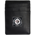 Winnipeg Jets Leather Money Clip/Card holder - Officially licensed NHL Winnipeg Jets Money Clip/Card Holders won't make you choose between paper or plastic because they stow both easily. Features a sculpted and enameled Winnipeg Jets emblem on the front of the Leather Money Clip/Card holder. This Winnipeg Jets Leather Money Clip/Card holder is packaged in an gift box.