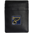 St. Louis Blues Leather Money Clip/Card holder - This Officially licensed St. Louis Blues Money Clip/Card Holder won't make you choose between paper or plastic because they stow both easily. Features a sculpted and enameled St. Louis Blues emblem on the front of the Leather Money Clip/Card holder. This St. Louis Blues Leather Money Clip/Card holder is packaged in a gift box.