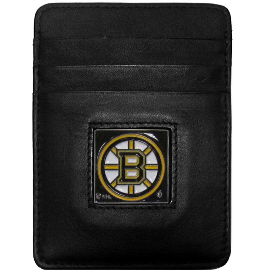 Boston Bruins Leather Money Clip/Cardholder - Officially licensed NHL Boston Bruins Money Clip/Card Holders won't make you choose between paper or plastic because they stow both easily. Features our sculpted and enameled Boston Bruins emblem on the front of the wallet.