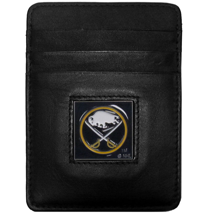 NHL Money Clip/Cardholder - Buffalo Sabres - Buffalo Sabres Executive NHL Money Clip/Card Holders won't make you choose between paper or plastic because they stow both easily. Features our sculpted and enameled Buffalo Sabres logo on black leather. Packaged in a window box.