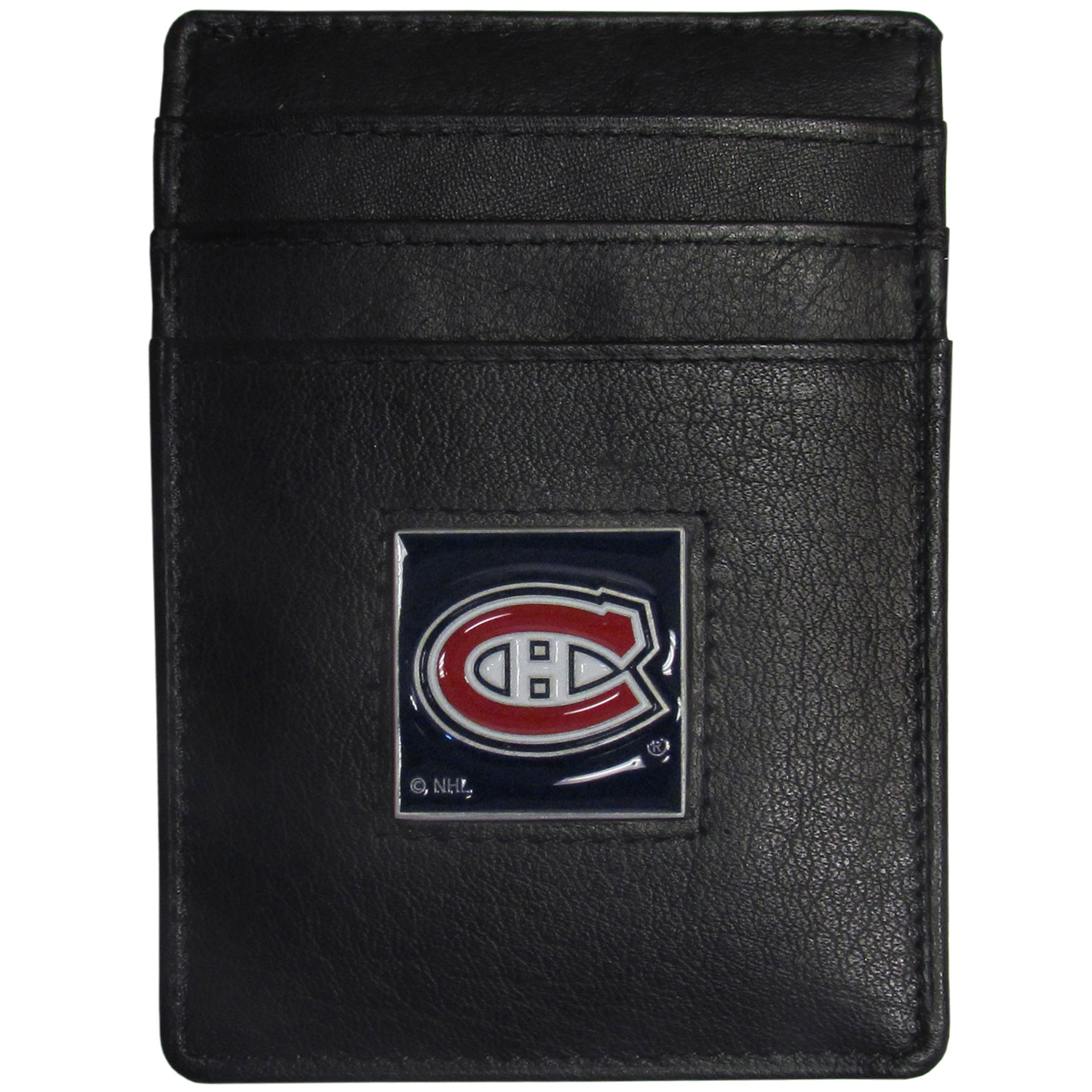Montreal Canadiens® Leather Money Clip/Cardholder - Our officially licensed Money Clip/Card Holders won't make you choose between paper or plastic because they stow both easily. Features our sculpted and enameled Montreal Canadiens® emblem on the front of the wallet.