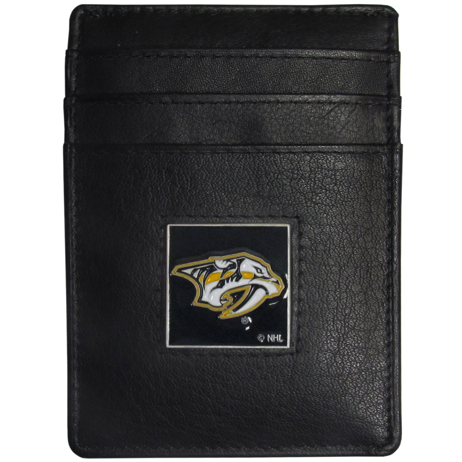 Nashville Predators® Leather Money Clip/Cardholder - Our officially licensed Money Clip/Card Holders won't make you choose between paper or plastic because they stow both easily. Features our sculpted and enameled Nashville Predators® emblem on the front of the wallet.