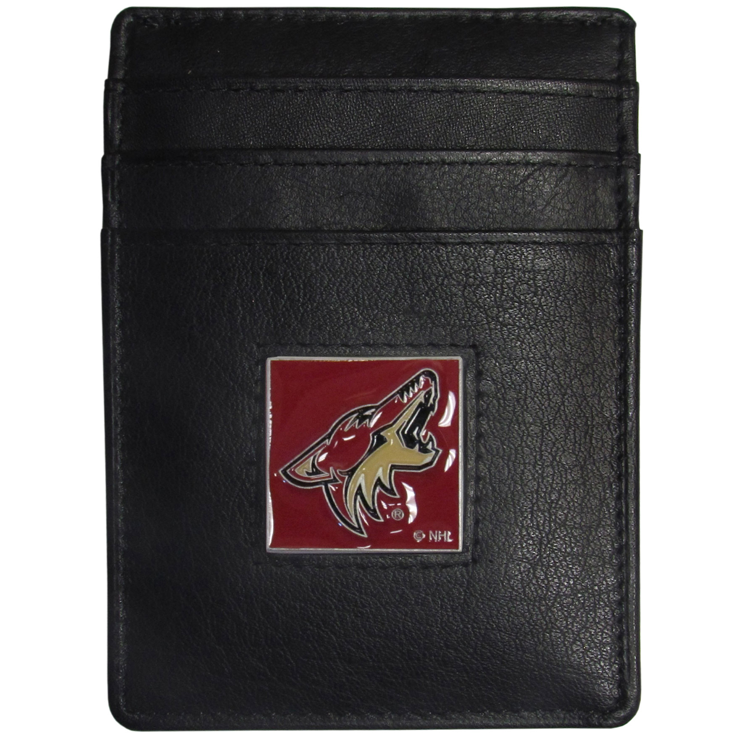 Arizona Coyotes® Leather Money Clip/Cardholder - Our officially licensed Money Clip/Card Holders won't make you choose between paper or plastic because they stow both easily. Features our sculpted and enameled Arizona Coyotes® emblem on the front of the wallet.