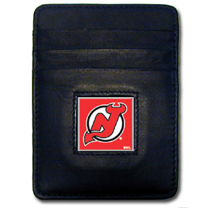 New Jersey Devils Executive NHL Money Clip/Card Holder - Officially licensed New Jersey Devils Executive NHL Money Clip/Card Holders won't make you choose between paper or plastic because they stow both easily. Features our sculpted and enameled New Jersey Devils square on black leather Money Clip/Card Holder.