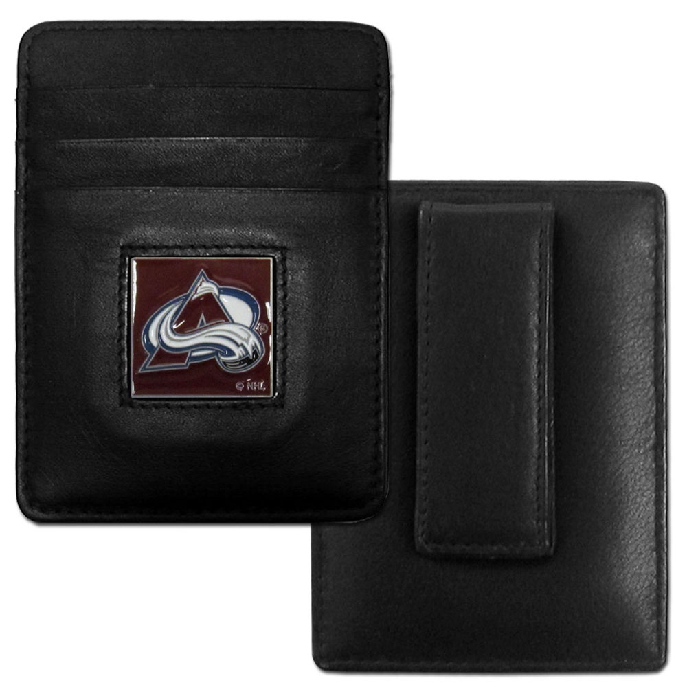 Colorado Avalanche® Leather Money Clip/Cardholder - Our officially licensed Money Clip/Card Holders won't make you choose between paper or plastic because they stow both easily. Features our sculpted and enameled Colorado Avalanche® emblem on the front of the wallet.