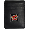 Calgary Flames Leather Money Clip/Card holder - This Officially licensed Calgary Flames Money Clip/Card Holder won't make you choose between paper or plastic because they stow both easily. Features a sculpted and enameled Calgary Flames emblem on the front of the Leather Money Clip/Card holder. The Calgary Flames Leather Money Clip/Card holder is packaged in a gift box. Thank you for visiting CrazedOutSports