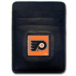 Philadelphia Flyers Executive NHL Money Clip/Card Holder - Officially licensed Philadelphia Flyers Executive NHL Money Clip/Card Holders won't make you choose between paper or plastic because they stow both easily. Features our sculpted and enameled Philadelphia Flyers square on black leather Money Clip/Card Holder.