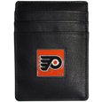 Philadelphia Flyers Leather Money Clip/Card holder - Officially licensed Philadelphia Flyers Money Clip/Card Holders won't make you choose between paper or plastic because they stow both easily. Features our sculpted and enameled Philadelphia Flyers emblem on the front of the Leather Money Clip/Card holder. The Philadelphia Flyers Leather Money Clip/Card holder is packaged in a gift box.