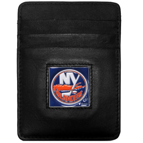New York Islanders® Leather Money Clip/Cardholder - Our officially licensed Money Clip/Card Holders won't make you choose between paper or plastic because they stow both easily. Features our sculpted and enameled New York Islanders® emblem on the front of the wallet.