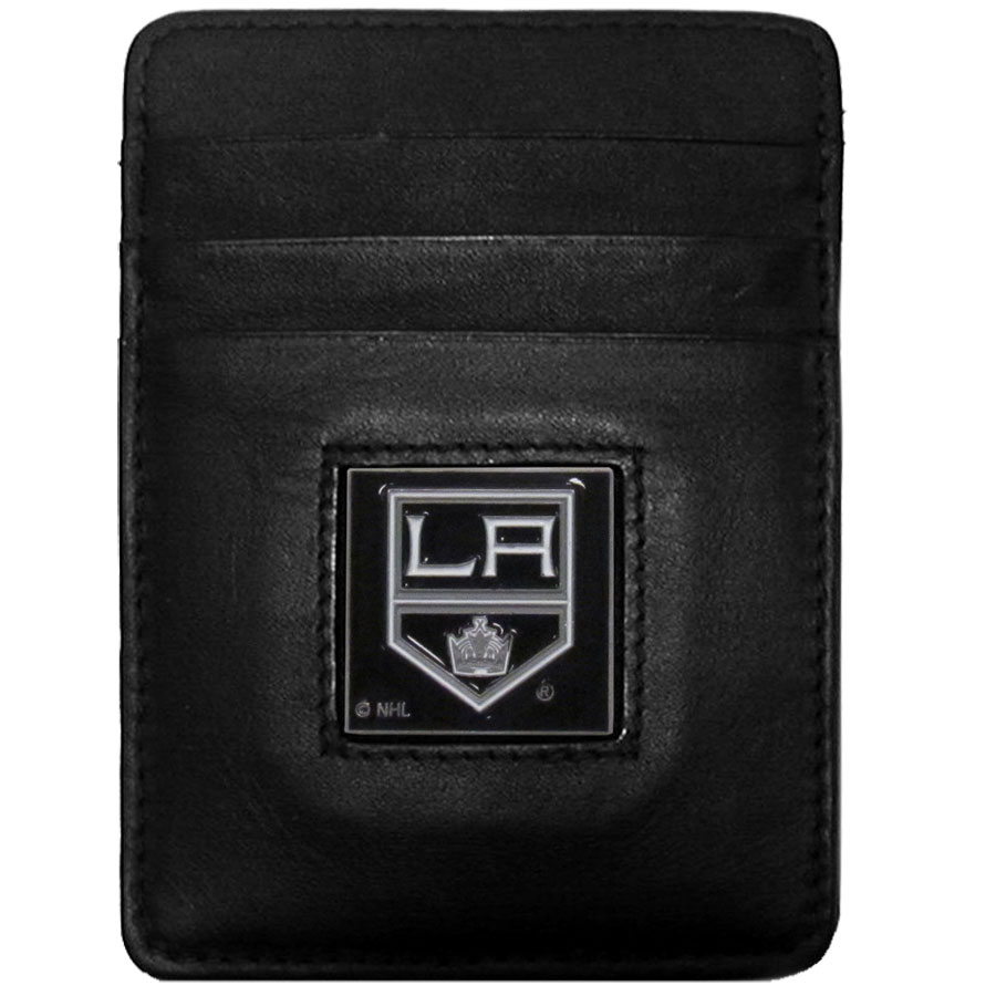 Los Angeles Kings Leather Money Clip/Cardholder - Officially licensed NHL Los Angeles Kings Money Clip/Card Holders won't make you choose between paper or plastic because they stow both easily. Features our sculpted and enameled Los Angeles Kings emblem on the front of the wallet.
