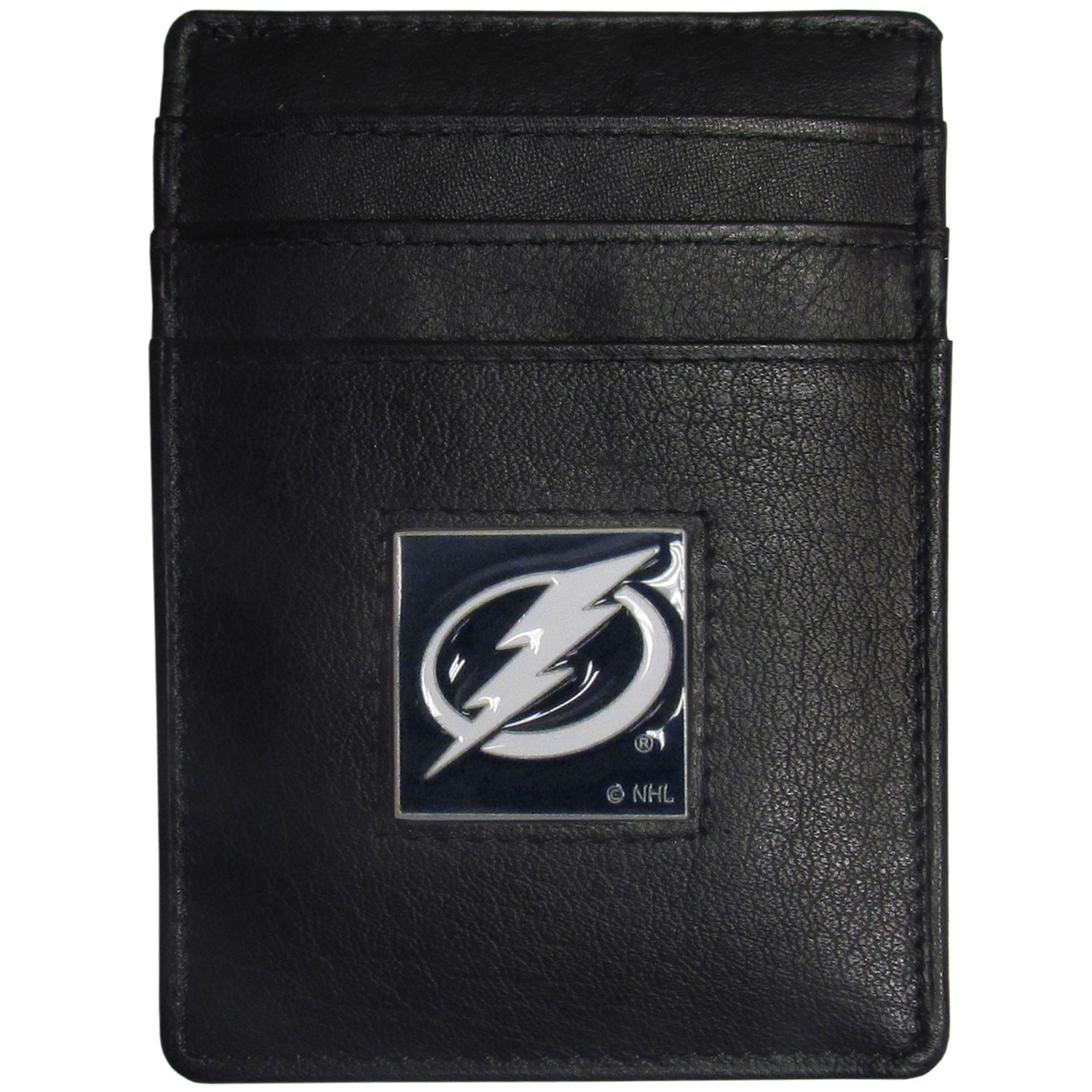 Tampa Bay Lightning® Leather Money Clip/Cardholder - Our officially licensed Money Clip/Card Holders won't make you choose between paper or plastic because they stow both easily. Features our sculpted and enameled Tampa Bay Lightning® emblem on the front of the wallet.