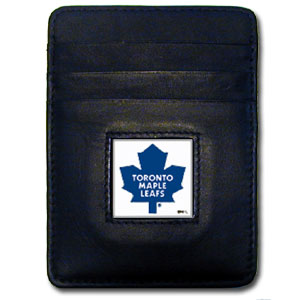 Toronto Maple Leafs Executive NHL Money Clip/Card Holder - Officially licensed Toronto Maple Leafs Executive NHL Money Clip/Card Holders won't make you choose between paper or plastic because they stow both easily. Features our sculpted and enameled Toronto Maple Leafs square on black leather Money Clip/Card Holder.