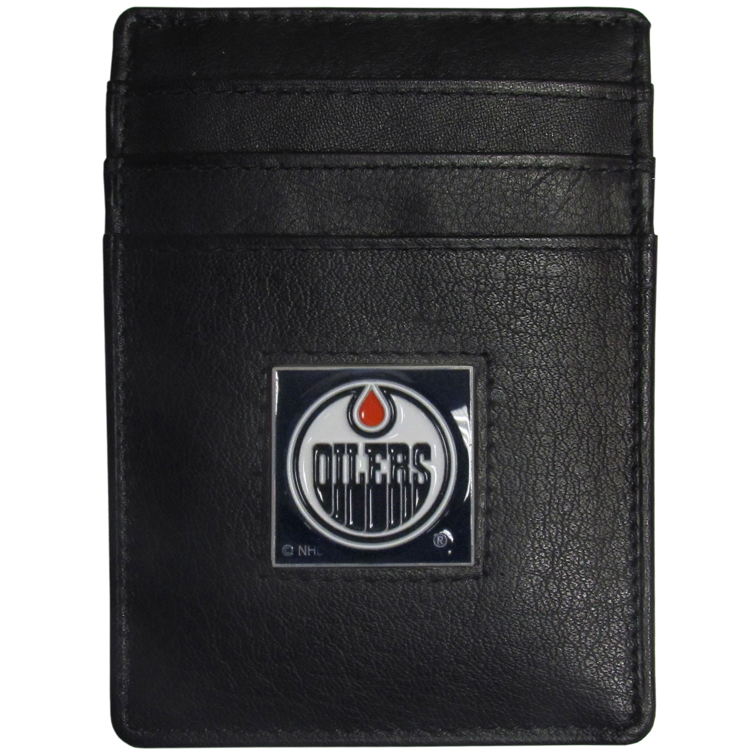 Edmonton Oilers® Leather Money Clip/Cardholder - Our officially licensed Money Clip/Card Holders won't make you choose between paper or plastic because they stow both easily. Features our sculpted and enameled Edmonton Oilers® emblem on the front of the wallet.