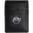 Edmonton Oilers Leather Money Clip/Card holder - Officially licensed Edmonton Oilers Money Clip/Card Holder won't make you choose between paper or plastic because they stow both easily. Features our sculpted and enameled Edmonton Oilers emblem on the front of the Leather Money Clip/Card holder. This Edmonton Oilers Leather Money Clip/Card holder is packaged in a gift box.