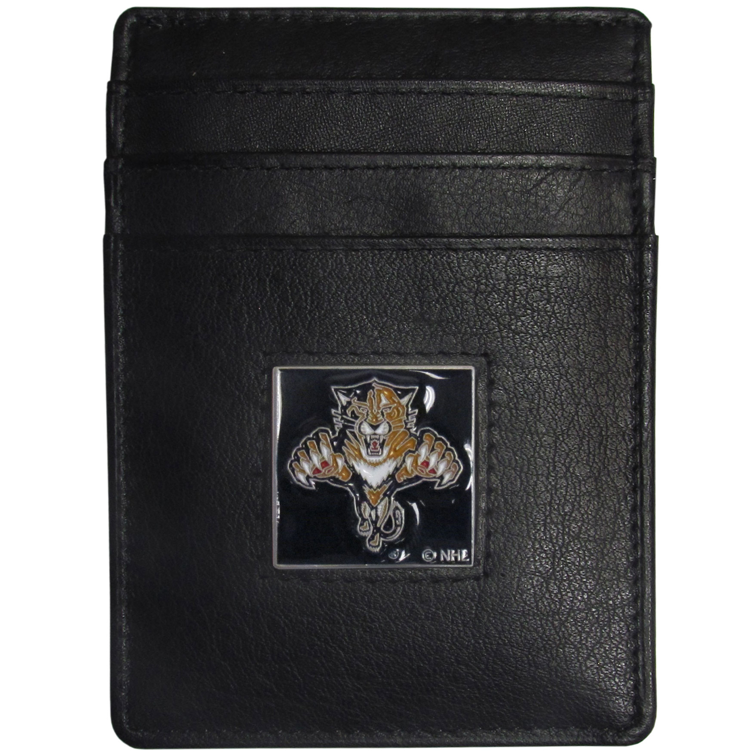 Florida Panthers® Leather Money Clip/Cardholder - Our officially licensed Money Clip/Card Holders won't make you choose between paper or plastic because they stow both easily. Features our sculpted and enameled Florida Panthers® emblem on the front of the wallet.