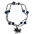 San Jose Sharks Crystal Bead Bracelet - Officially licensed San Jose Sharks crystal bead bracelet with San Jose Sharks colored crystal separated with chrome helix beads. The San Jose Sharks crystal bead bracelet features a San Jose Sharks charm with exceptional detail.