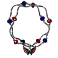 Washington Capitals Crystal Bead Bracelet - Officially licensed Washington Capitals crystal bead bracelet with Washington Capitals colored crystal separated with chrome helix beads. The Washington Capitals Crystal Bead Bracelet features a Washington Capitals charm with exceptional detail.
