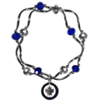 Winnipeg Jets Crystal Bead Bracelet - Officially licensed Winnipeg Jets crystal bead bracelet with Winnipeg Jets colored crystal separated with chrome helix beads. The Winnipeg Jets Crystal Bead Bracelet features a Winnipeg Jets charm with exceptional detail.